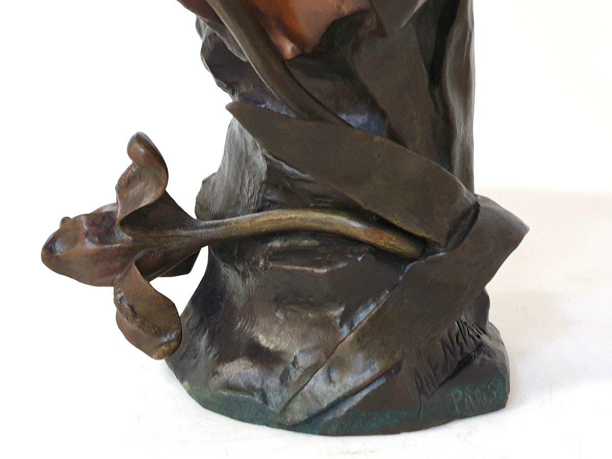 Buste En Bronze Art Nouveau Ant Nelson Paris 63 Cm-photo-1