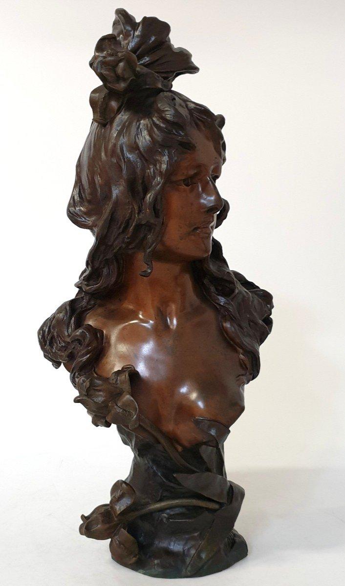 Buste En Bronze Art Nouveau Ant Nelson Paris 63 Cm-photo-6