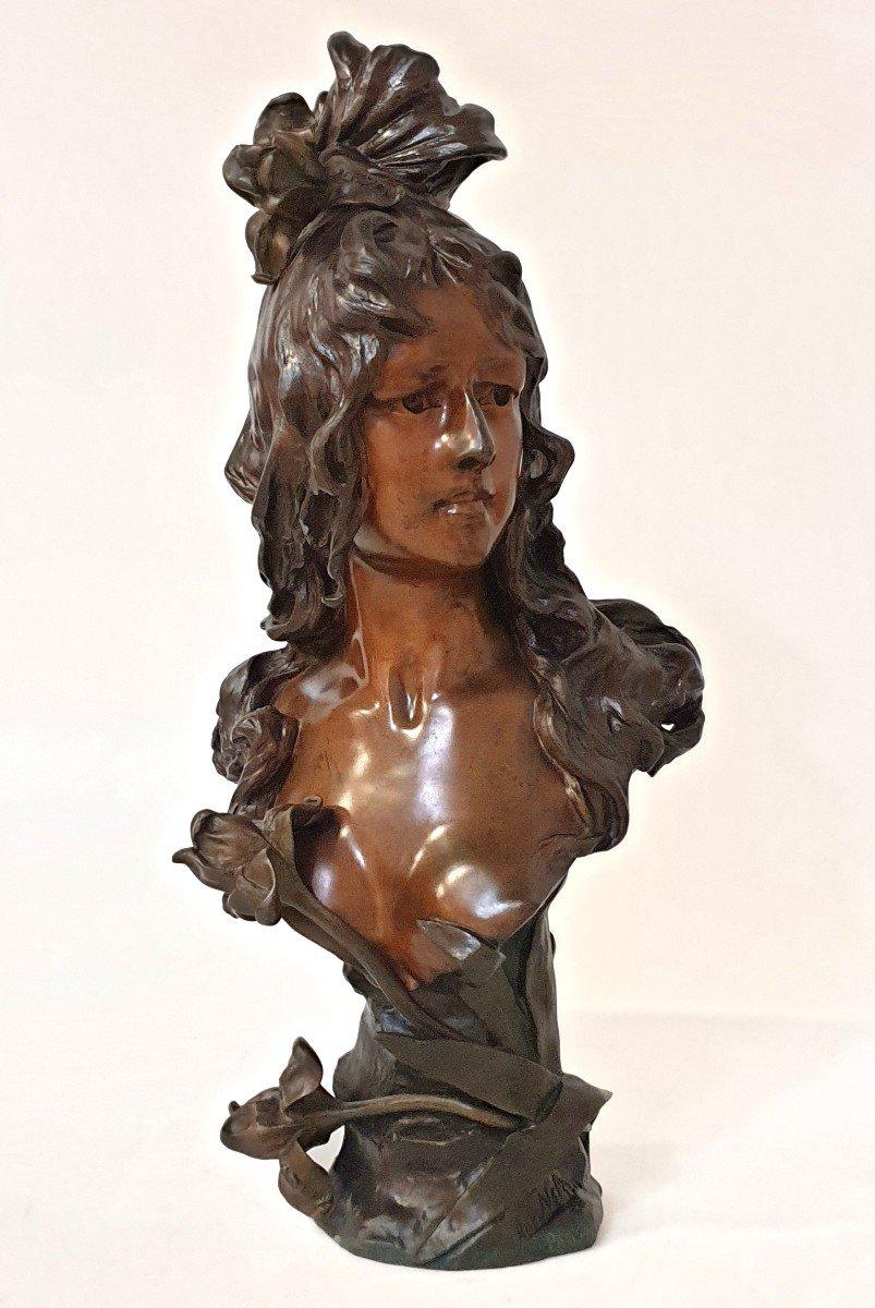 Buste En Bronze Art Nouveau Ant Nelson Paris 63 Cm