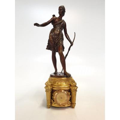 Pendule Diane Chasseresse Signé A. Peene Bronze Marbre 19eme Siecle