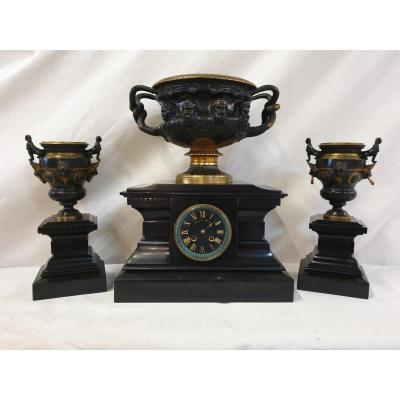 Bronze And Marble Clockset Barbedienne 19th Century