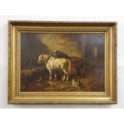 Chevaux signe Charles Tschaggeny (1815 – 1894)  Huile Sur Toile  100 X 135 Cm