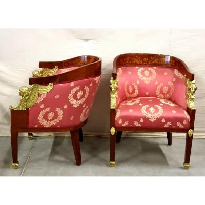 Pair Of Armchairs Large Bronze Marquetry 19th Century