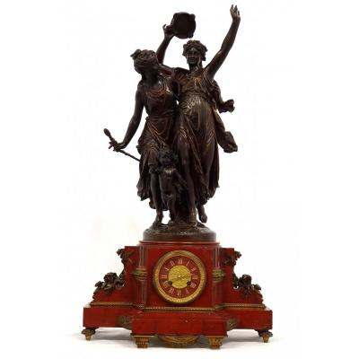 Large Bronze Clock L. Gregoire Red Marble 87 Cm