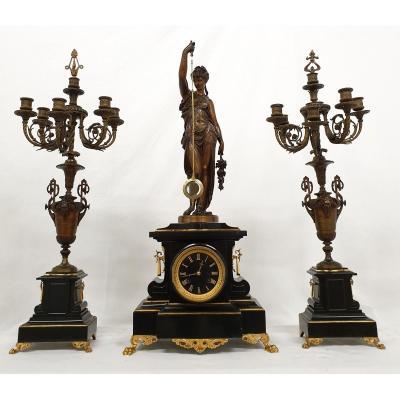 Grande Garniture De Mystérieuse A.r. Guilmet Bronze Marbre Signee Glt