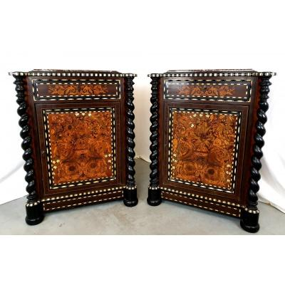 Pair Of Cabinets Napoleon III Ivory Marquetry