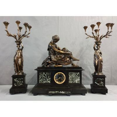 Grande Garniture Signee J. Pradier Bronze Marbre Vert L.v.e. Robert