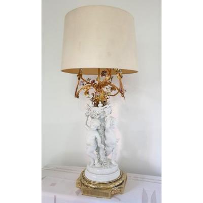 Lampe En Porcelaine Trois Amours Bronze 90cm
