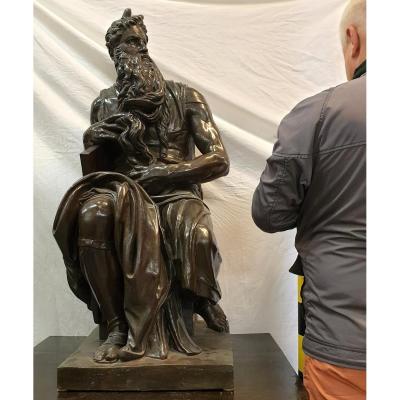 Grande Figure En Bronze Moses Barbedienne Michelangelo