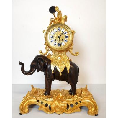 Pendule En Bronze éléphant Napoleon III 19ème Siècle