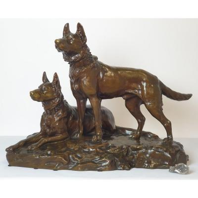 Large Bronze Figure German Shepherds J.joire 1852-1950 50x69cm