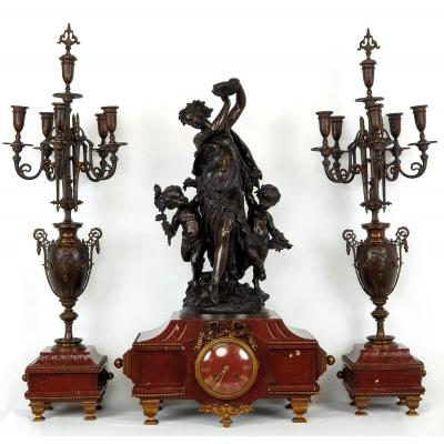 Grand Garniture De Cheminée Mathurin Moreau En Bronze Marbre