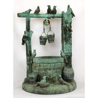 Bronze Fountain Many Birds Signed Secession