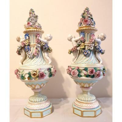 Paire De Vases Porcelaine Meisse Marcolini