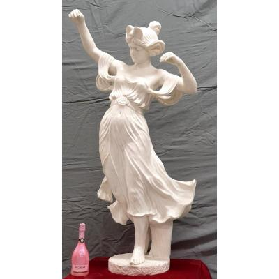 Large Marble Figure 150 Cm The Dancer Carrara Statuario E. Drouot Art Nouveau