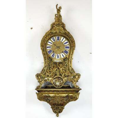 Cartel Boulle In Colorful Marquetry Bronze 18th Century 95 Cm Gilvert A Paris
