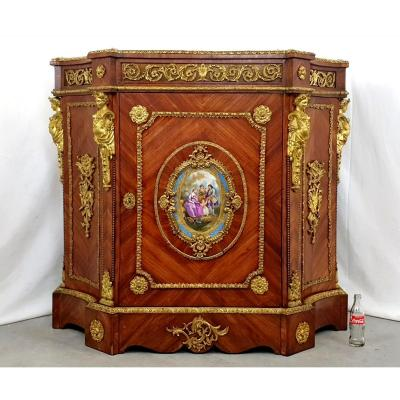 Incredible Sevres Bronze Dore Rosewood Buffet Support Cabinet 19th Century