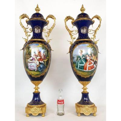 Pair Of Sevres Style Vases 89 Cm Porcelain Bronze Dore