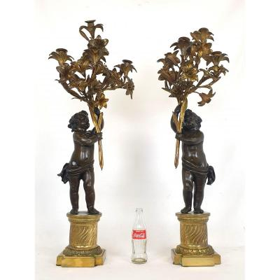 Large Pair Of Bronze Candelabra Putto 95 Cm 19th Century