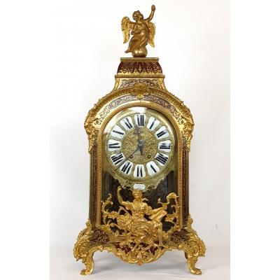 Clock In Boulle Marquetry Bronze  Martinot 84 Cm 19th Century