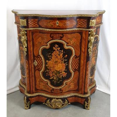Napoleon III Marquetry Support Cabinet 19th Century Golden Bronze