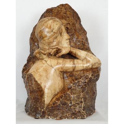 Buste De Femme C. Vicari (1846) Marbre 19ème Siecle