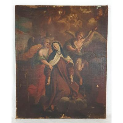 Oil On Canvas The Ecstasy Of Saint Therese 18th Century