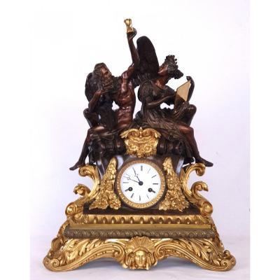 Bronze Clock  Chronos And Clio 1820-1830