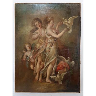 Peinture À l'Huile 134 X 98 Cm Nymphes 18eme Siecle Grand Format