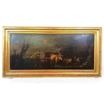 Peinture A l'Huile 78x153 Cm Bétail à Un Point d'Eau 18ème Siècle