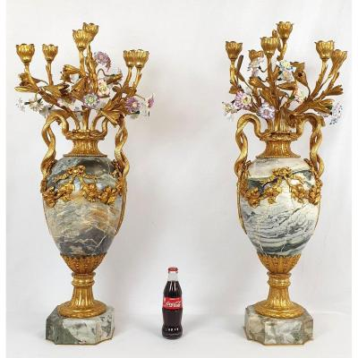 Pair Of Large Candelabra 91 Cm Bronze Dore Marble Porcelain 19th Century