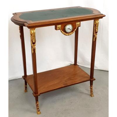 Louis XVI Table 19th Century Brown Barometer Clock