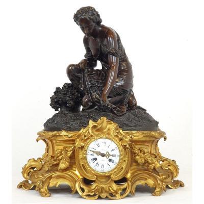 Impressice Bronze Clock Schoenewerk A. Marchand 19th Century