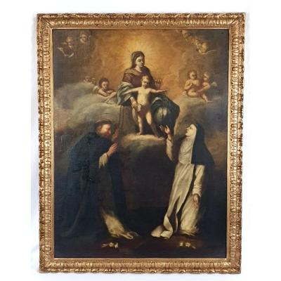 Oil On Canvas Notre Dame Du Rosaire Des Saints 18th Century