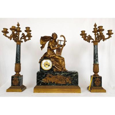 Garniture De Cheminée En Bronze Marbre Vert Empire 19eme Siecle