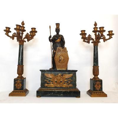 Garniture De Chimnee Mythologie d'Athéna Bronze Marbre Napoleon III