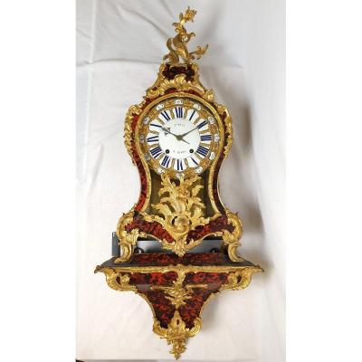 Cartel Louis XV Fortin A Paris 18eme siecle Ecaille de Tortue Marron