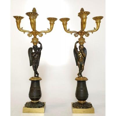 Paire de CandelabreCharles X En Putti en Bronze Patine Dore 19eme Siecle