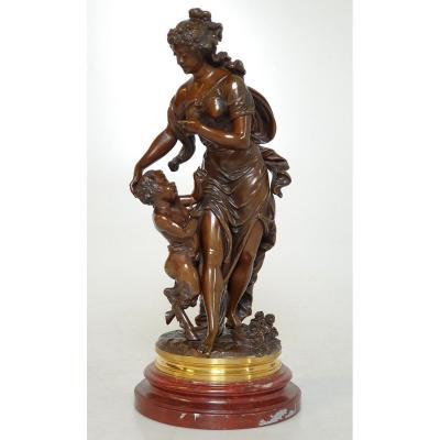 Figure En Bronze Bacchantes Clodion A. Dulac 19eme Siecle