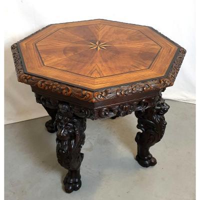 Table Richement Sculpte Noyer 19ème Siècle