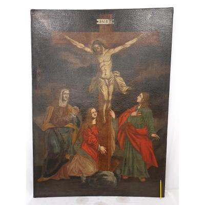 Huile Sur Toile Crucifixion Du Christ 17ème Siècle 163x118