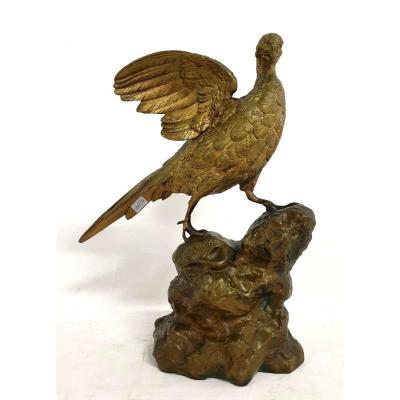 Figure En Bronze Pheasant P. E. Delabrierre 19eme Siecle