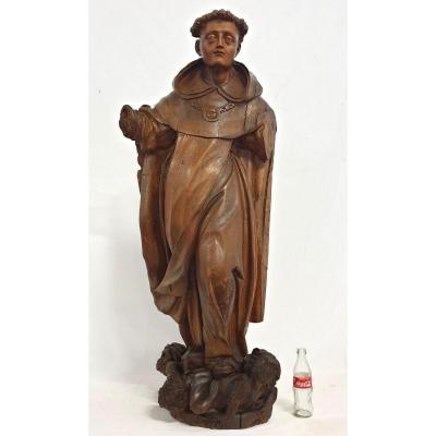 Figure Sacree De St. d'Antonie XVII En Bois 117 Cm