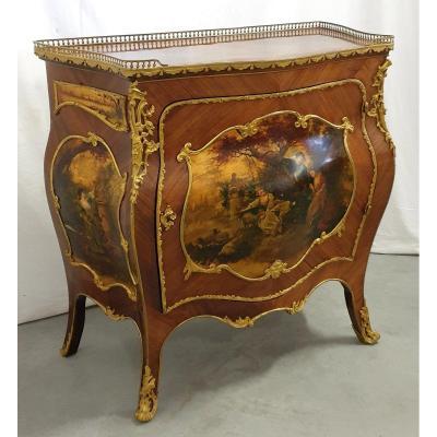 Meuble d'Appui Louis XV Bombe Peinture A Huile 19eme Siecle