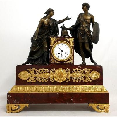 Grande Pendule En Bronze Marbre Empire 19eme Siecle