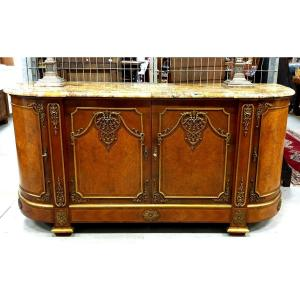 Buffet from Napoleon III period, France, late 19th century, around 1890. A high-class piece of furniture of considerable size, with an original, heavy marble top. Fitted with brass strips and gilded bronze applications on the entire surface. Walnut veneered with walnut veneer and quilt finished with inlaid veins. Inside there are practical drawers and shelves.<br /> <br /> Dimensions:<br /> height - 100 cm<br /> length - 208 cm<br /> depth - 65 cm