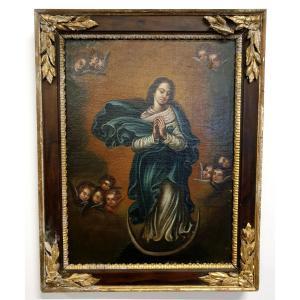 Huile Sur Toile Immaculata 18eme Siecle
