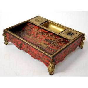 Inkwell In Boulle Bronze Dore Marquetry