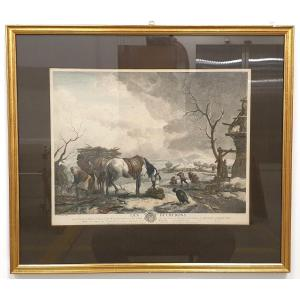 18th Century Color Engraving Philips Wouwerman 58 X 66 Cm