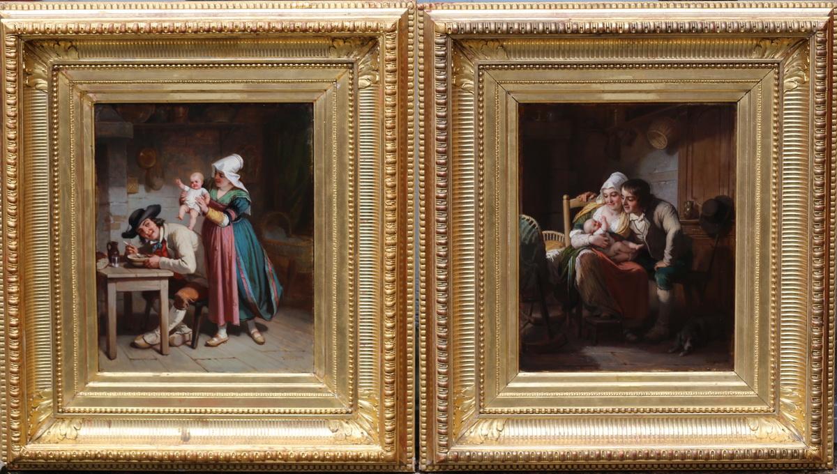 """Alexandre Josquin XIX """"intérieurs Breton"""" Paire Peintures"""